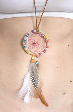 Summer Solstice Dream Catcher Necklace by eenk on Etsy