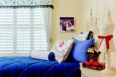 Interior design: decorating and space planning. Window treatments: shutters, valances and draperies.