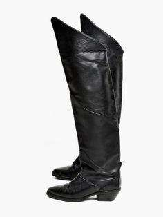 Vintage noir sur les genou en cuir bottes par MaevenOnEtsy sur Etsy, $115.00