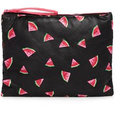 Forever 21 Watermelon Print Cosmetic Pouch ($6.90) ❤ liked on Polyvore featuring beauty products, beauty accessories, bags & cases, bags, beauty and forever 21