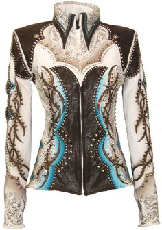 Super gorgeous show jacket with dark chocolate tooled leather, and expertly airbrushed with taupes and blues. Thousands of tiny silver spots and nailheads, as well as crystals and conchos decorate this awesome western themed jacket! Western Show Shirts, Western Show Clothes, Horse Show Clothes, Western Outfits, Western Wear, Riding Clothes, Equestrian Outfit, Equestrian Style, Chemises Country