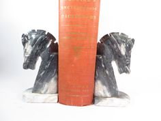 Vintage Alabaster Horsehead Bookends Gray by PherdsFinds on Etsy