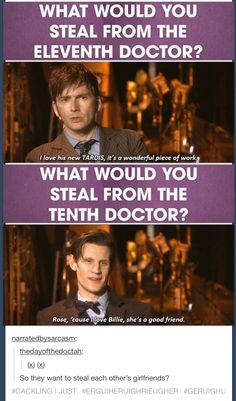 "I have never approved of Matt Smith more than I do now. :') And David Tennant pretty much speaks for every Whovian when he says, ""I feel like I'm being slightly disloyal here."" Matts TARDIS is just awesome though. Doctor Who, Eleventh Doctor, Paul Rudd, David Tennant, Sherlock, Supernatural, Out Of Touch, Don't Blink, Matt Smith"