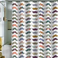 DENY Designs Home Accessories   Bianca Green Mustache Mania Shower Curtain