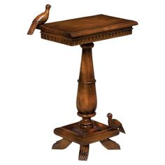 Hand-carved+mahogany+wood+accent+table+with+bird+statuettes.  + Product:+Accent+tableConstruction+Material:+Ma...