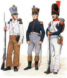 """FRANCE - """"Napoleon Line Infantry""""  • Fusilier, 43e de Ligne, 1792  • Infantryman in campaign dress, 1795  • Grenadier, Garde Nationale de Paris, 1792"""