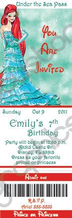 Disney Princess Designer Collection Custom Ticket Birthday  Invitation (DIY Printable or Print & Ship). $15.00, via Etsy.