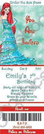Disney Princess Designer Collection Custom Ticket Birthday  Invitation (DIY Printable or Print & Ship). $15.00, via Etsy.