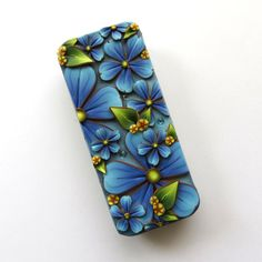 Blue Garden Slide Top Tin Sewing Needle Case  Polymer by Claybykim