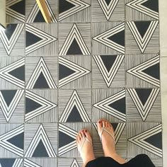 Geometric Black and White Patterned Floor