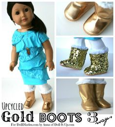 "You are going to LOVE Anna's craft for today! She upcycled Springfield Dolls basic boots for 18"" dolls like American Girl and came up with 3 different versions of Saige inspired GOLD boots. LOVE IT!!!"
