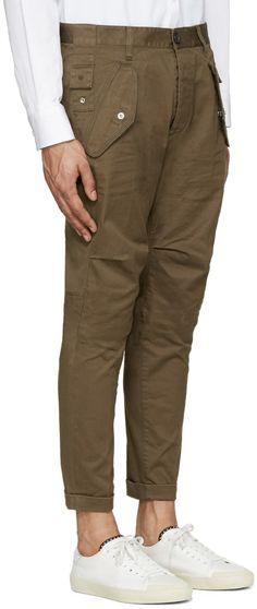 Dsquared2 - Khaki Cotton Cargo Trousers
