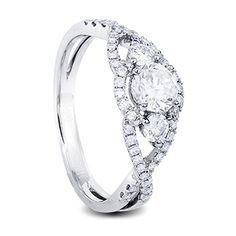 White gold diamond engagement ring trilogy look with round centre diamonds Diamond Rings, Diamond Engagement Rings, Wedding Engagement, Wedding Rings, One Ring, White Gold Diamonds, Centre, Jewelry Design, Jewels