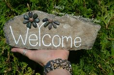 Welcome rock, pebble art, painted stone, painted rock, garden art, welcome sign, flower art, flower sign,