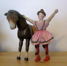 Antique Schoenhut BISQUE HEAD Lady Rider/ Acrobat with Brown Horse