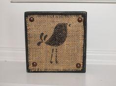 Wood Block with Bird inked on Burlap / Shelf Sitter - stamp on burlap!