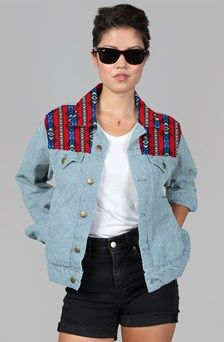 Apliiq.com presents the Bull wear patchwork jean jacket. unisex denim jacket $119.00