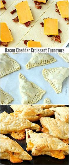 Bacon Cheddar Croissant Turnovers #recipe #snack