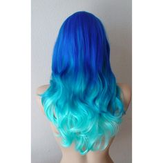 Blue Ombre wig. Electric blue Turquoise Teal gradient colors wig. ($140) ❤ liked on Polyvore featuring hair and hair styles