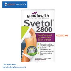 Good Health Svetol capsules are clinically proven to control excessive weight gain. They promote healthy calorie management program for an effective weight loss.  Buy Products Online @ http://www.budgetpharmacy.co.nz/goodhealth-svetol-2800-112-capsules