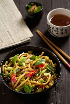 Yummy Noodles, Udon Noodles, I Love Food, Good Food, Asian Recipes, Ethnic Recipes, Chinese Food, Vegetarian Recipes, Side Dishes
