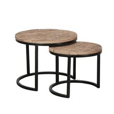 Duverger Recycled - Salontafels - set van 2 - rond - dia 50 & 40 cm - Large Table, Small Tables, End Table Sets, End Tables, Wood And Metal, Solid Wood, Table Height, Indoor Air Quality, Wood Species