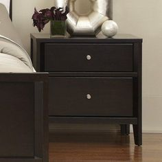 Casana Beckett 2 Drawer Nightstand - Dark Birch - 355-432