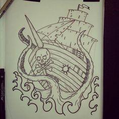 Pirate ship and Kraken. Original tattoo design