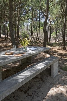Architect Luciano Kruk built an exposed concrete house set amidst a pine forest on Argentina's Costa Esmeralda. Landscape Architecture, Interior Architecture, Interior And Exterior, Narrow Staircase, Concrete Houses, Exposed Concrete, Forest House, Pine Forest, Detached House