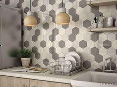 Modern Multi Color Hexagon Tile Backsplash