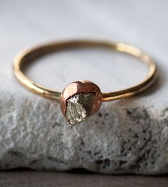 Pyrite, Copper & Brass Ring | Possessing all sorts of character, this simple brass band is a... | Rings