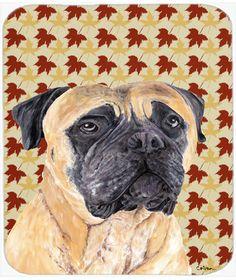 Mastiff Fall Leaves Portrait Mouse Pad, Hot Pad or Trivet