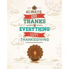 Free Vector illustration of Turkey bird on Give Thanks in Everything Happy Thanksgiving grunge Poster design template 28 - November - Thanks...