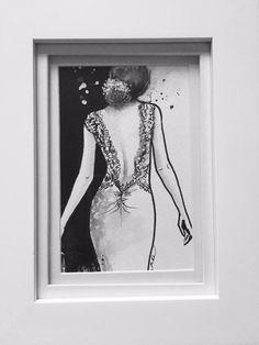 Framed Art Fashion Watercolor Illustration - Original Illustration by Lana Moes - Wedding Gift - Home Decor - Fashionista - Wall Decor