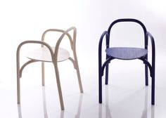 A minimalist chair made from turned + steam bent wood. The aptly named Brace chair by Samuel Wilkinson.