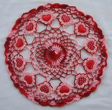 Crochet Heart Doily Red and Red Multi #2 Valentine Pinned from EBAY