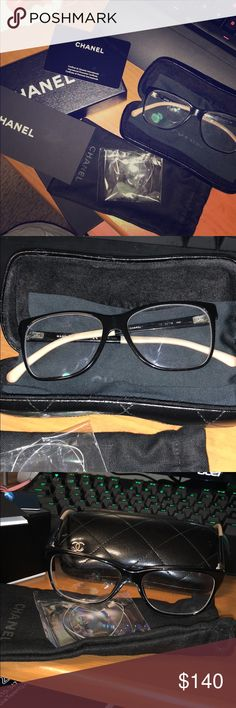 Chanel Prescription Glasses Authentic Chanel glasses. Slight sign of wear. I took them to my eye doctor for prescription lenses so the original lens are untouched. Comes with the original box, case, glasses pouch. I'm selling because I don't have a tall nose bridge so the glasses slips off easily on me! 😢 CHANEL Accessories Glasses
