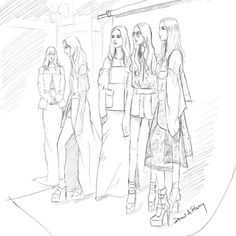 Backstage at Vera Wang Spring 2017; fashion illustration by Draw A Story.
