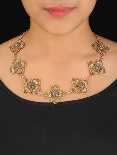 Buy Golden Turquoise Red Ethno Floral Silver Necklace 92.5% Sterling Semi Precious Stone Jewelry Tantalizing Treasures Tribal Inspired Online at Jaypore.com