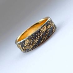 Gold Chaos with Gold Lining Unique Men's Wedding Band