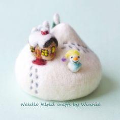 Needle felted Winter wonderland Pincushion handmade OOAK wool sculpture by FunFeltByWinnie on Etsy