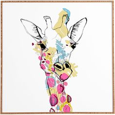 Lend a trendy touch to your living room or entryway with this stylish print, featuring a colorful giraffe design.  Product: Fram...