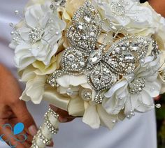 Bridal bouquet for the glitzy butterfly lover