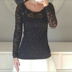 VS Black Long Sleeve Lace Blouse Top Beautiful rich black lace top. In brand new condition! Scoop neckline. Victoria's Secret Tops