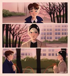 red string of fate Kaisoo, Chanyeol, Kyungsoo, Red String Of Fate, Exo Couple, Exo Fan Art, A Silent Voice, Kpop Exo, Bts Drawings