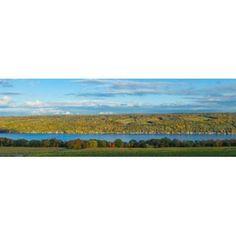 Lake surrounded by hills Keuka Lake Finger Lakes New York State USA Canvas Art - Panoramic Images (36 x 12)