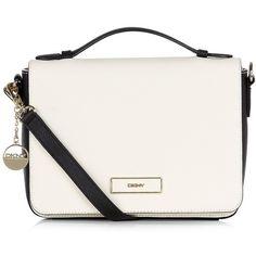DKNY Saffiano Flap Shoulder Bag ($280) ❤ liked on Polyvore featuring bags, handbags, shoulder bags, bolsas, purses, dkny, flap shoulder bag, white purse, dkny purses and zipper handbag