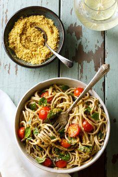 Lemon Basil Pasta with Walnut Parmesan
