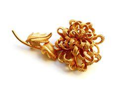 Chrysanthemum Flower Brooch Vintage Signed Castlecliff Gold Tone by ReneeMaeVintage
