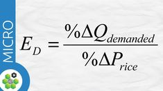 Elasticity of demand is equal to the percentage change of quantity demanded divided by percentage change in price. Micro Economics, Teaching Economics, Cost Accounting, War On Drugs, Financial Literacy, Study Tips, Calculator, Diy Tech, Youtube